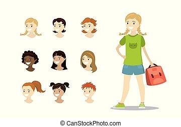 adolescente, gabarit, têtes, multiculturel