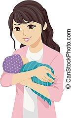 adolescente, giovane, illustrazione, madre, ragazza bambino