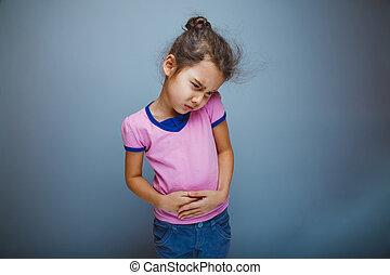 adolescente, gris, dolor, plano de fondo, niño, abdominal, ...