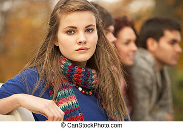 adolescente, grupo, parque, cima, outono, amigos próximos