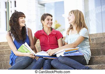 adolescente, grupo, sentar, faculdade, femininas, passos, amigos