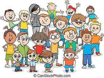 adolescente, gruppo, cartone animato, ragazzi, caratteri, o,...