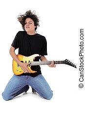 adolescente, guitarra, menino
