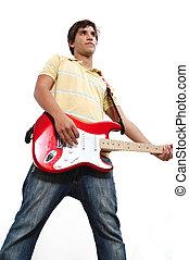 adolescente, guitarrista, isolado
