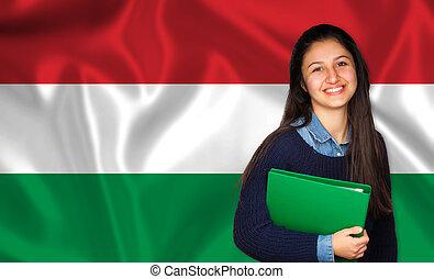 adolescente, húngaro, sobre, bandeira, estudante, sorrindo