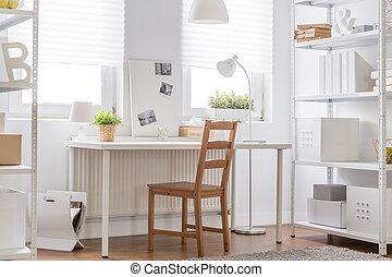 adolescente, habitación, minimalista