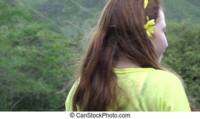 adolescente, heureux, nature