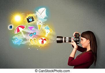 adolescente, icone, dipinto, fotografo, foto, fabbricazione...