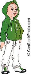 adolescente, il portare, incappucciato, ragazzo, jacket., vettore