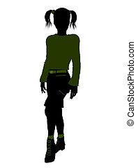 adolescente, illustrazione, silhouette