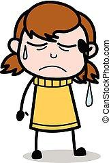 adolescente, -, ilustração, triste, vetorial, retro, menina, caricatura