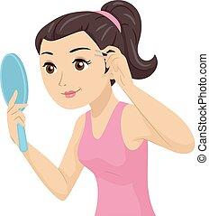 adolescente, ilustración, ceja, desplumar, espejo, niña