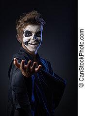 adolescente, indica, actuación, maquillaje, cráneo