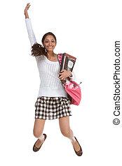 adolescente, indio, mochila, saltar, estudiante universitario