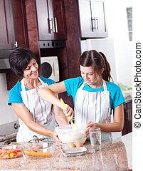 adolescente, insegnamento, figlia, cottura, madre