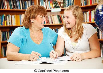 adolescente, insegnante, o, studente, madre
