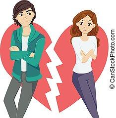 adolescente, interrupción, pareja, arriba