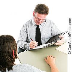adolescente, intervista, lavoro, o, consiglio