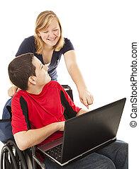 adolescente, invalido, computer, amico