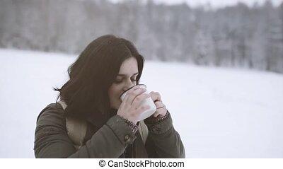 adolescente, inverno, ragazza, nature.