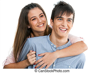 adolescente, isolated., sonriente, pareja