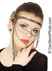 adolescente, jewelery, beutiful, brunetta