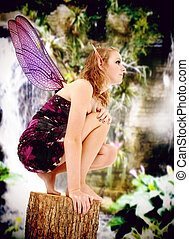 adolescente, jogo, fairie, viver, papel, traje, ação