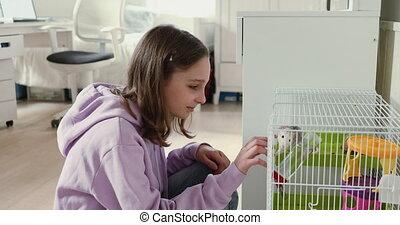 adolescente, jouer, rat, mignon, chouchou, maison