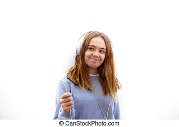 adolescente, juegos, con, quitado, auriculares, en, un,...