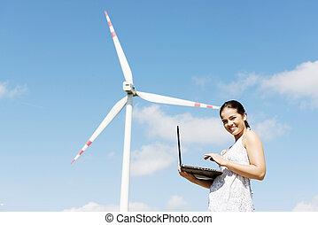 adolescente, laptop, logo, turbine., menina, vento