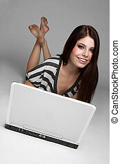 adolescente, laptop, ragazza