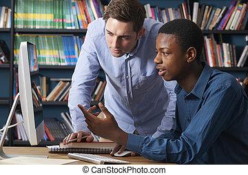 adolescente, lavorativo, computer, pupilla, insegnante maschio