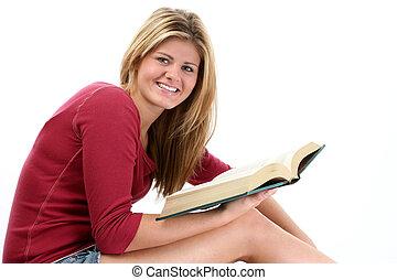 adolescente, lectura de mujer