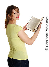 adolescente, lectura de mujer, libro