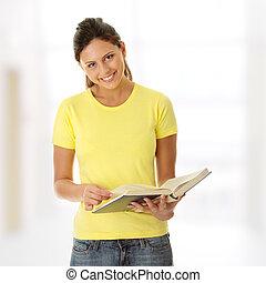 adolescente, leitura mulher, livro