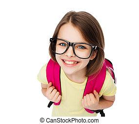 adolescente, lentes, bolsa, niña sonriente, feliz