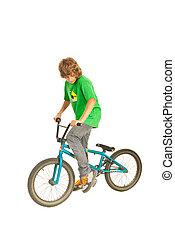 adolescente, ligado, a, bicicleta