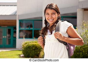 adolescente, lindo, escuela, hispano, estudiante, listo, niña