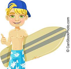 adolescente, lindo, tabla de surf, niño