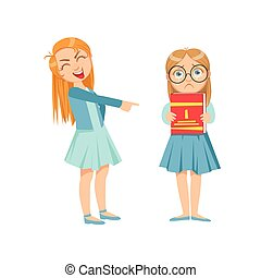 adolescente, listo, peleón, ilustración, delincuente, burlón, travieso, se manifestar, comportamiento, niña, anteojos, caricatura, incontrolable, niño