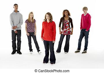 adolescente, longitud completa, cinco, retrato, estudio,...