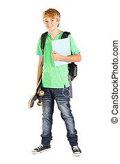 adolescente, longitud completa, estudiante, retrato, macho