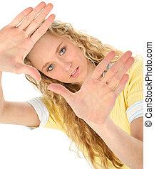 adolescente, mains