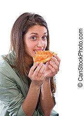 adolescente, mangiare, ragazza, pizza