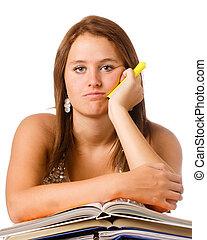 adolescente, manuali, studiare, scuola, infelice, isolato, ragazza, annoiato, bianco