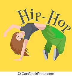 adolescente, menina, dançar, pulo quadril, estilo, isolado, vetorial, illustration., jovem, fresco, dançarino, dança ruptura, movimento, excitado, mulheres, dançar moderno, partir, pose, equilíbrio, funky, bailarino feminino, vetorial, ilustração