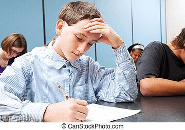 adolescente, menino, -, escola, teste
