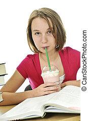 adolescente, milkshake, ragazza
