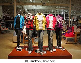 adolescente, moda, tienda