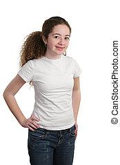 adolescente, modelar, camisa branca